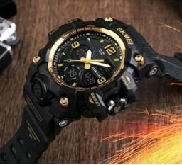 636845f124f Relógio Masculino games Shock Sport Militar Skmei dourado Promoção