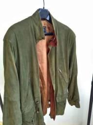 Jaqueta em couro camurça