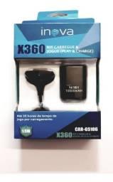 Carregador + Bateria Preto Pra Controle Xbox 360 (NOVO)