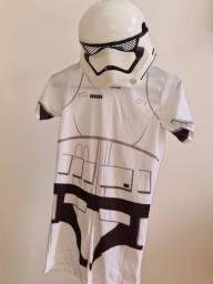 Fantasia stormtrooper star wars curta com máscara tam 10-12 G