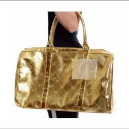 Linda Bolsa Bcbgmaxazria Gold Metallic Overnight Travel Ba