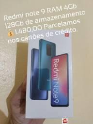 Redmi note 9 com 4 Gb de RAM e 128Gb, Lacrado Versão Global