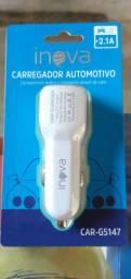 Carregador automotivo 2.1A inova Novo lacrado