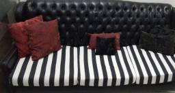 Sofa retro couro preto