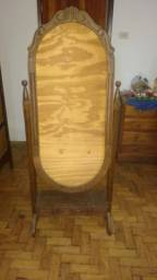 Espelheira com Moldura de Sucupira Oval Torneada com pés e gavetas