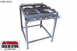 Fogões 40x40 Semi-Industrial 4 Bocas - Luxo - Alta Pressão - Queimador de Ferro Fundido