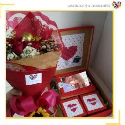 Box romântica + buquê