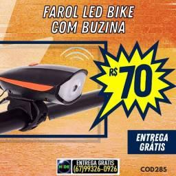 Farol LED Bike com Buzina (Entrega Gratis)
