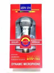 (NOVO) Microfone Prata Com Fio Profissional Dinamico Dm 701