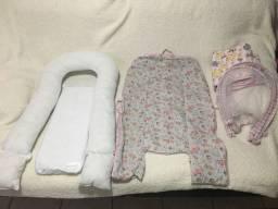 Lindo e aconchegante ninho portátil para bebês + 2 capas + tela mosquiteira