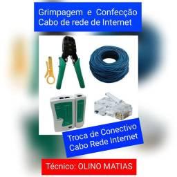 Confecção e Grimpagem de cabo rede internet