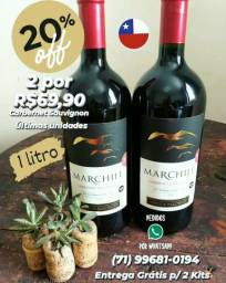 2 Vinhos Marchile Cabernet 1Litro Chileno