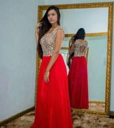 Vestido poderoso vermelho bordado cristais