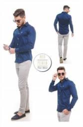 Camisa social slim fit azul marinho