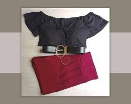 kit Feminino Cropped ciganinha + short com cinto