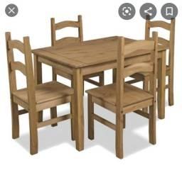 Quero comprar uma mesa de madeira com 4 cadeira no precinho