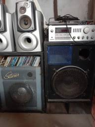 Amplificador de Som e Caixas de Som 15 m
