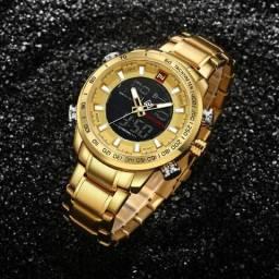 9c73017954bf1 Relógio Masculino Naviforce 9093 Digital e Analógico Dourado Original  Liquidação Só R 130