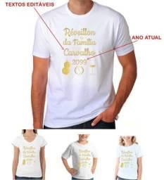 Camiseta para Réveillon Ano Novo Personalizada com Sobrenome da Sua Família