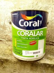 Lata de tinta acrilica coral cor branca-nova