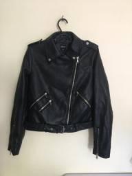 Jaqueta de couro preta feminina