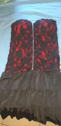 Lindo vestido tubinho vermelho com preto
