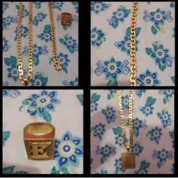 Kit cordão pulseira medalha e anel tudo novo banhado no ouro fino quase sem uso sem uso