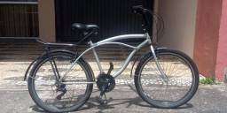 Bicicleta Retrô Prata 21 Marchas C/ Bagageiro