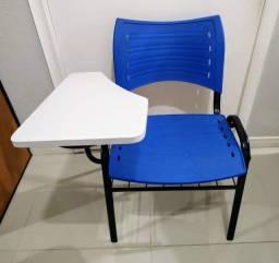 Cadeira Universitária Plástica Azul Com Prancheta