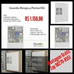 Guarda Roupa 4 portas Elô/ Montagem Grátis.