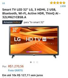 "Smart TV led 32"" LG, 3 hdmi, 2 USB, Bluetooth, Wi-Fi, Active HDR, ThinQ AI - 32LM621CBSB.A"