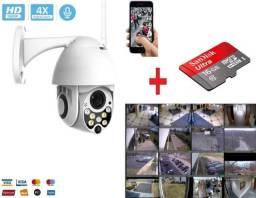 Kit Câmera IP Wi-fi + Cartão Gravação, Segurança Externa Wifi