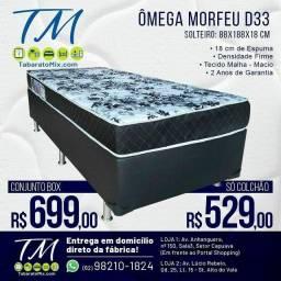 Conjunto Box Solteiro Ômega Morfeu Espuma D33! Frete Grátis! 1 Travesseiro Brinde <br>