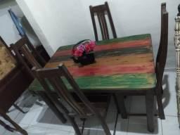 Mesa + 4 Cadeiras em Pátina
