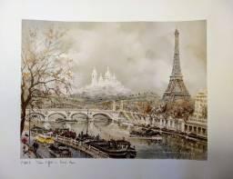 Gravura de Paris Tour Eiffel et Sacré Coeur