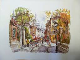 Gravura de Paris - Monmatre la rue Norvins