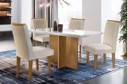Mesa de jantar c/ tampo de vidro ? 4 cadeiras ? Berlim ? Imbuia
