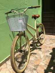 Bicicleta retrô bege Aro 26 com marcha