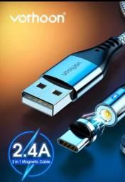 Cabo USB tipo C com 2 Metros. Magnético e Reforçado!