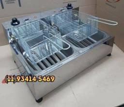 Fritadeira Elétrica 2cubas 8L, 4L cada lado em Aço Inox