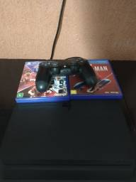 Playstation 4 com controle e dois jogos