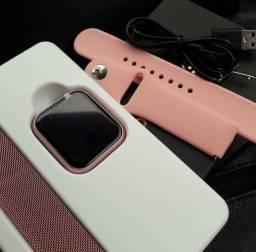 Relógio Smart Band T80 rosa com pulseira silicone e metal