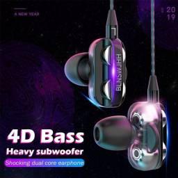 4D Bass Stereo Earphone Double Speaker 3.5MM Earphones