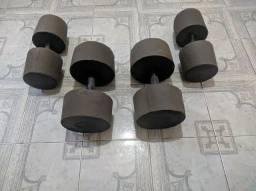 Pesos de concreto, super resistentes emborrachados para você treinar em casa.