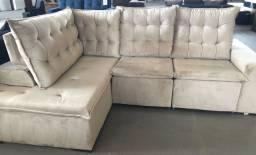 Sofá retrátil reclinável formato L