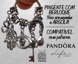 6 Berloques Vivara Pandora Patuá Proteção Religiosa Mão Fátima Chave Olho Dinheiro Sorte
