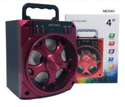 Caixinha De Som Kts 1041C Bluetooth Portátil Led Mp3 Fm Sd Usb Potente