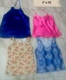 Blusas femininas de 5 a 8 reais cada.