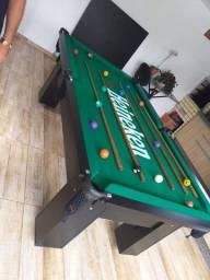 Título do anúncio: Mesa Charme de Bilhar e Jantar Cor Preta Tecido Verde Logo Heineken MREA031