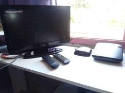"""TV Monitor LCD 19"""" HD AOC L19W931 com HDMI<br>+ Conversor Digital e Antena Aquarius"""